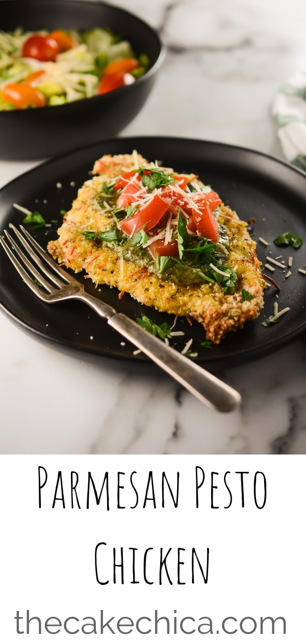 Breaded with breadcrumbs, Panko breadcrumbs, Italian seasoning and Parmesan cheese, topped with pesto, tomatoes and more Parmesan cheese. #chickenrecipes #chickenbreast #pestochicken #easy #weeknightmeals