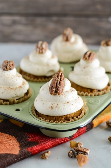 Pumpkin Cupcakes with Fluffy Cream Cheese Frosting