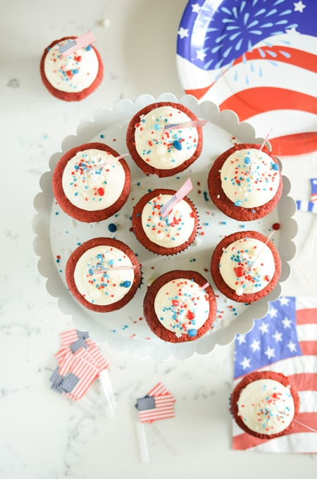 July 4th Red Velvet Cupcakes