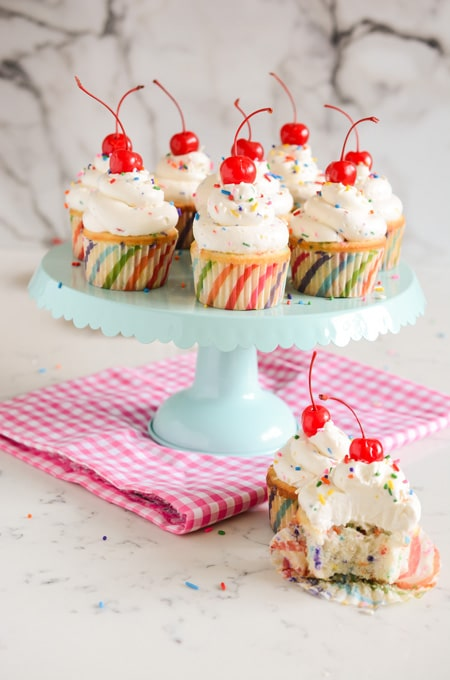 Confetti Cupcakes with Confetti Buttercream