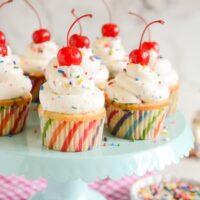 Confetti Cupcakes with Confetti Buttercream