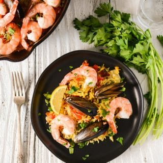 Oven Roasted Mussels and Shrimp Paella