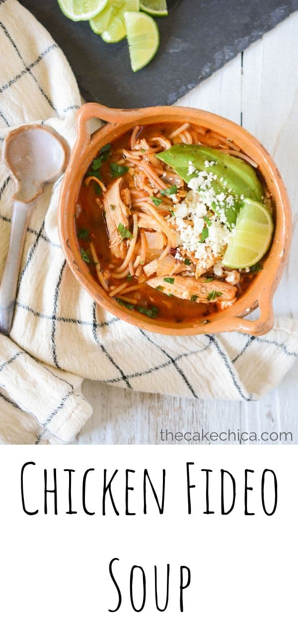 An easy Mexican soup made with chicken breast, fried fideo and a few spices.  #soups #fideo #mexicanfood #mexicancuisine #pasta