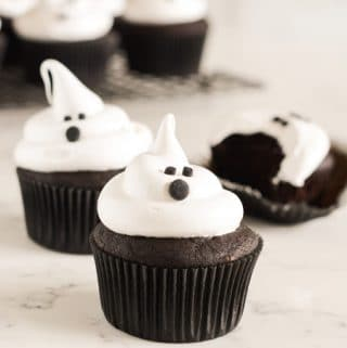 Devils Food Ghost Cupcakes