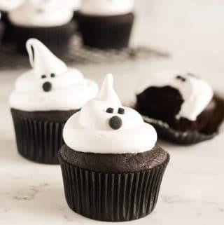 Devils Food Ghost Cupcakes