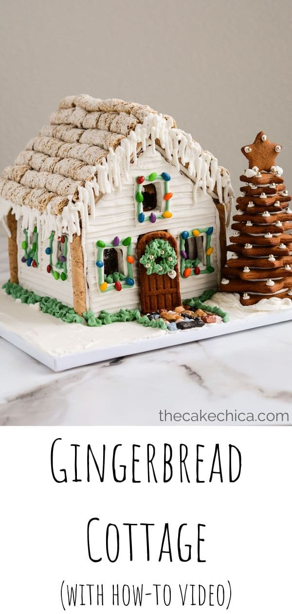 Homemade gingerbread cookie dough is baked in a mold to create this cute Gingerbread Cottage. Then the cottage is decorated with royal icing and fondant and filled with candy! #gingerbreadhouse #gingerbread #cookies #Christmas #thecakechica