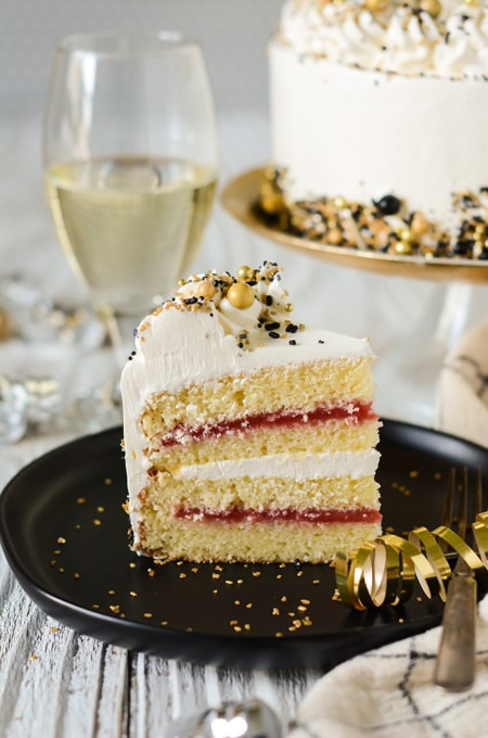 Champagne Cake with Strawberry Filling