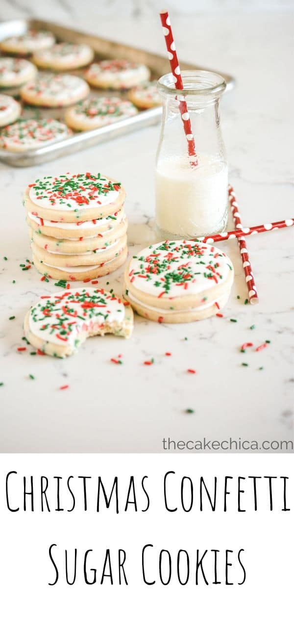 Homemade sugar cookies that are light and airy with crispy edges and slightly chewy middles. Iced with royal icing decorated with holiday sprinkles. #cookies #christmascookies #baking #sugarcookies #thecakechica