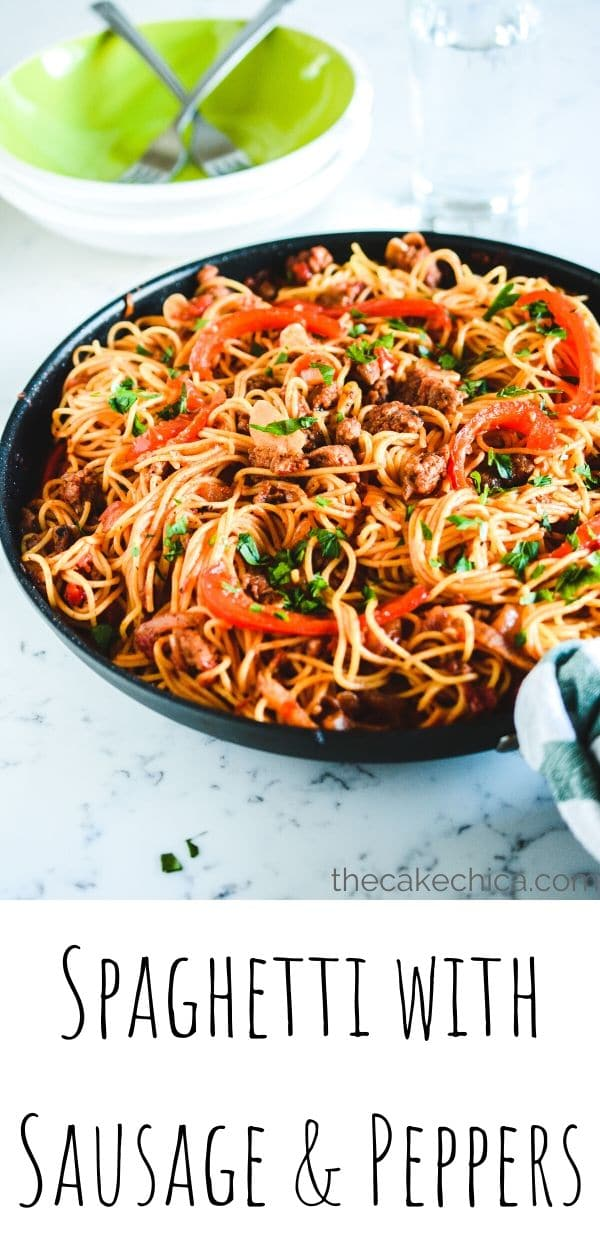 Easy Spaghetti Sausage and Peppers made with crushed tomatoes, bell peppers and onions. #pasta #recipes #easyrecipes #sausage #thecakechica