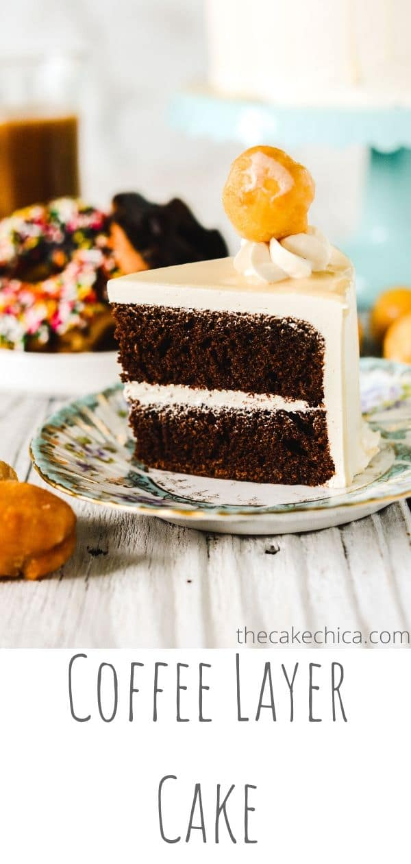 Coffee cake layers soaked with a coffee soaking syrup and frosted with coffee buttercream and coffee glaze. #cakes #layercakes #dessert #coffee #coffeedesserts #thecakechica