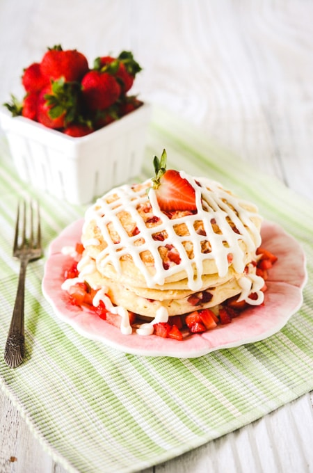 Strawberry Buttermilk Pancakes with Cream Cheese Icing