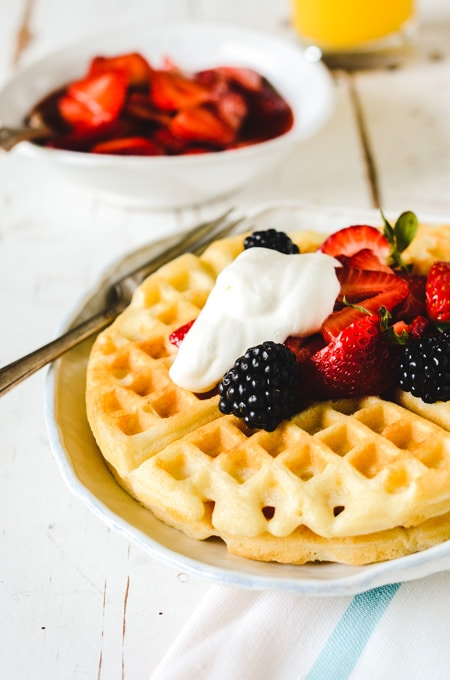 Waffles of Insane Greatness with Strawberry Compote