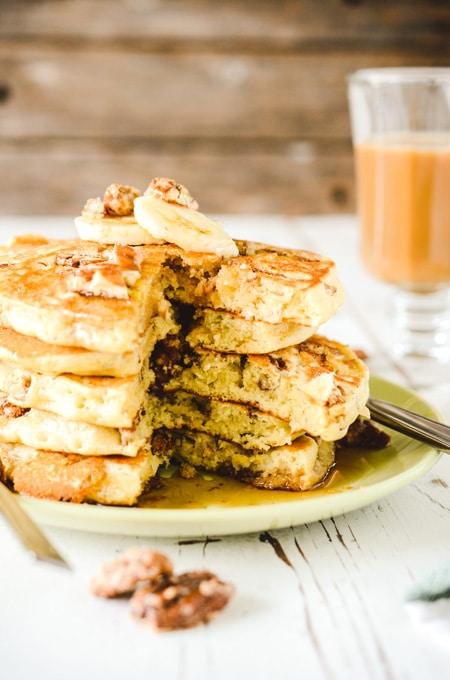 Multigrain Banana Pecan Pancakes