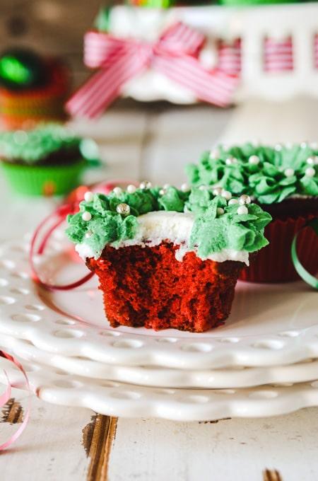 Red Velvet Christmas Wreath Cupcakes