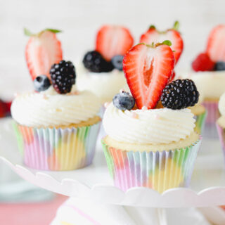 White Cupcakes with Mixed Berry Filling