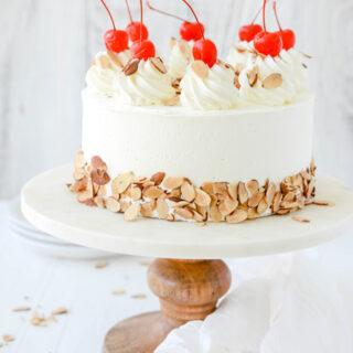 Homemade White Almond Sour Cream Cake